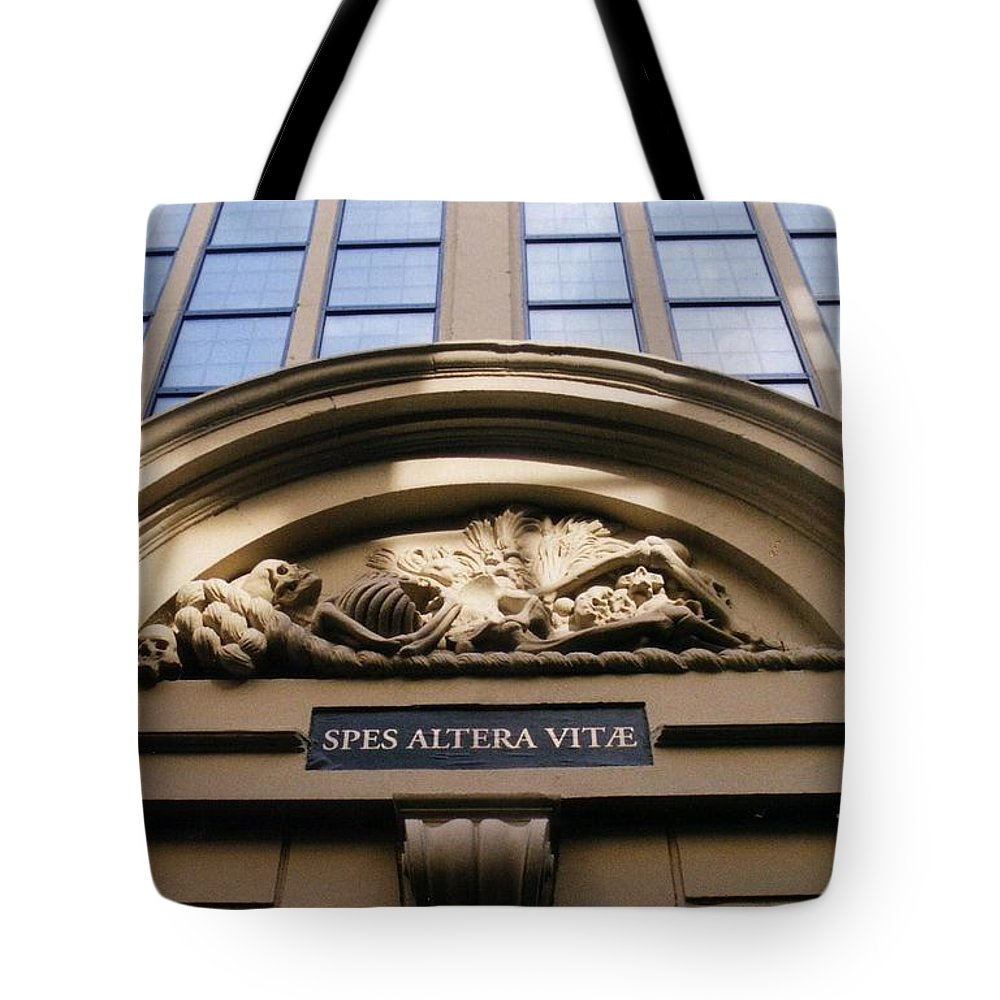 Arch Tote Bag featuring the photograph Morbid Arch Decoration. by halifax artist John Malone