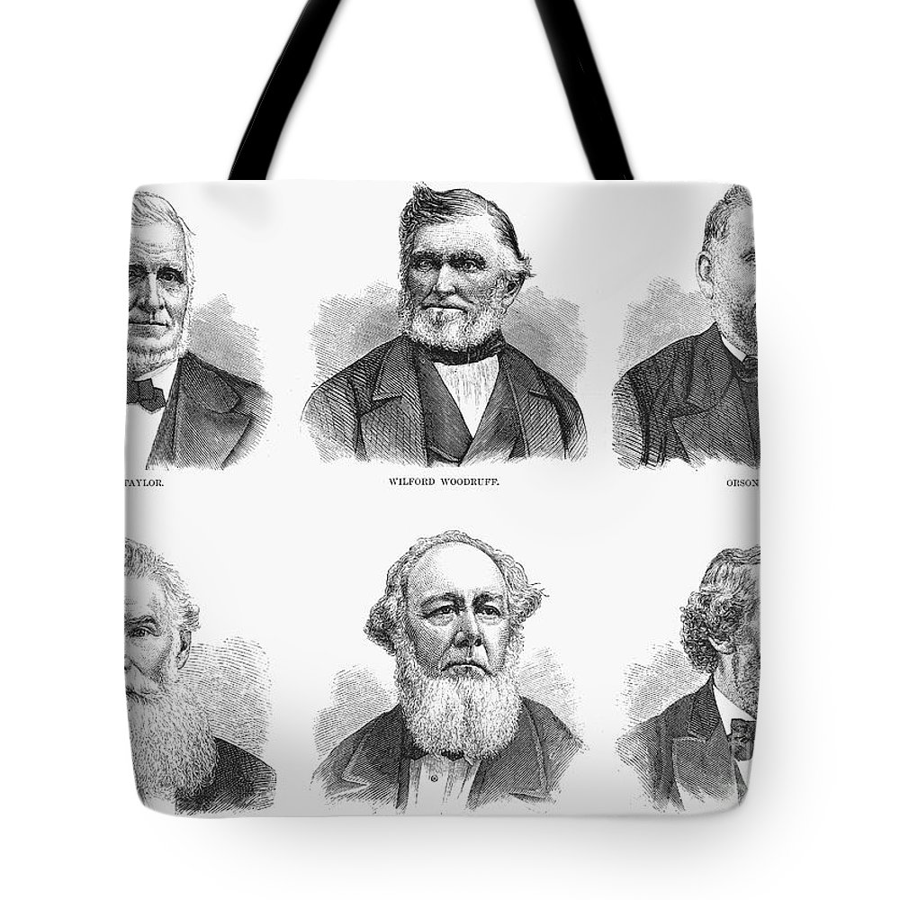 1877 Tote Bag featuring the photograph Mormon Apostles, 1877 by Granger