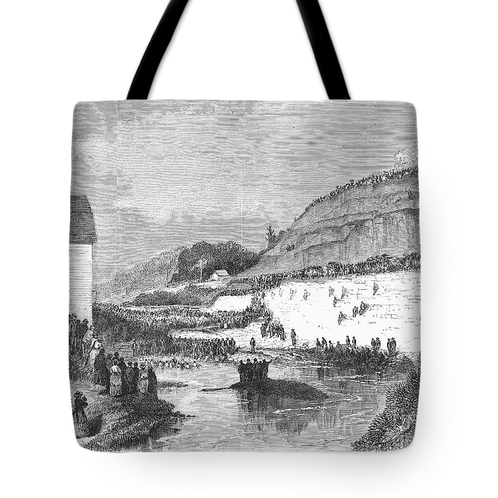 1873 Tote Bag featuring the photograph Mormon Baptismal, 1873 by Granger