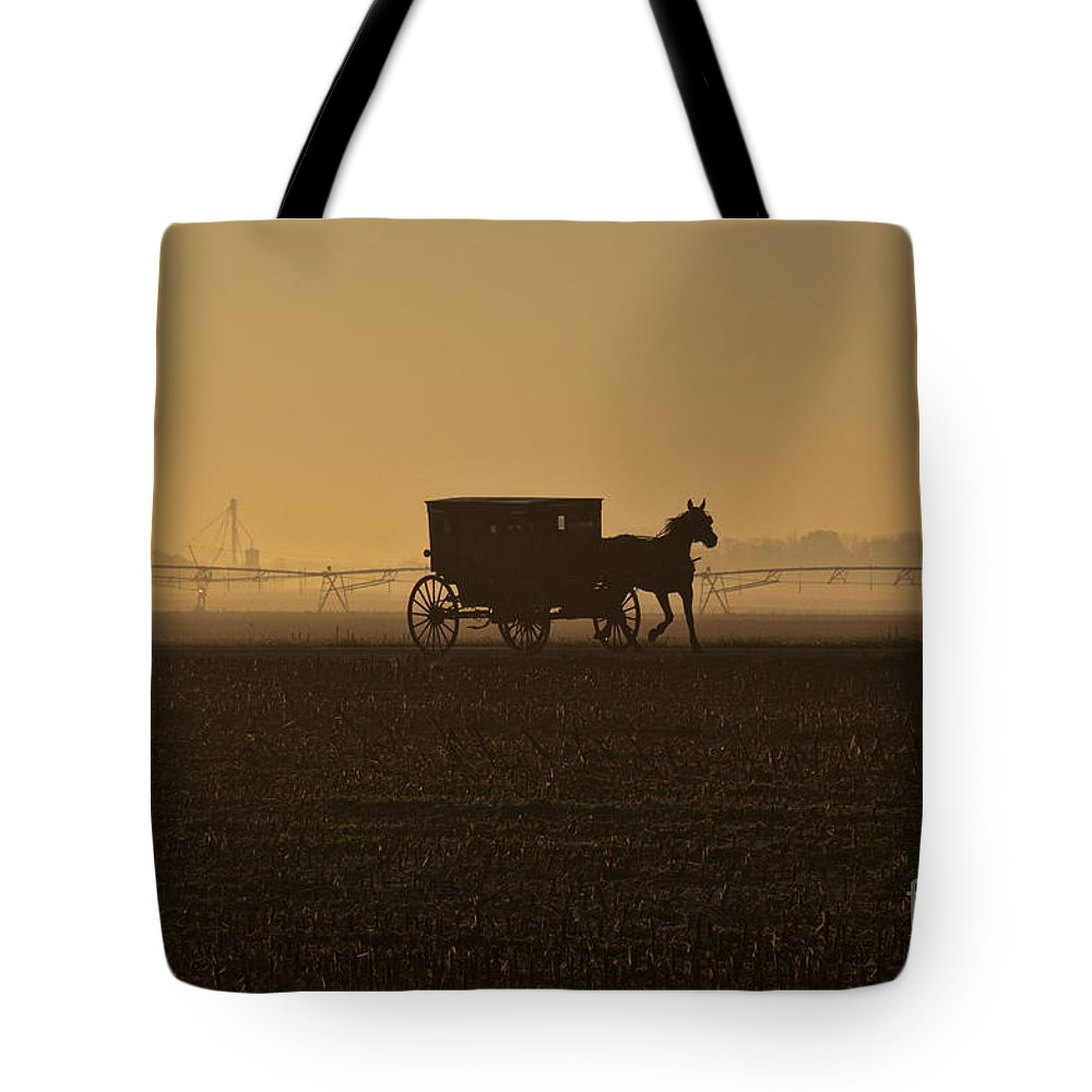 Amish Tote Bag featuring the photograph Morning Fog by David Arment