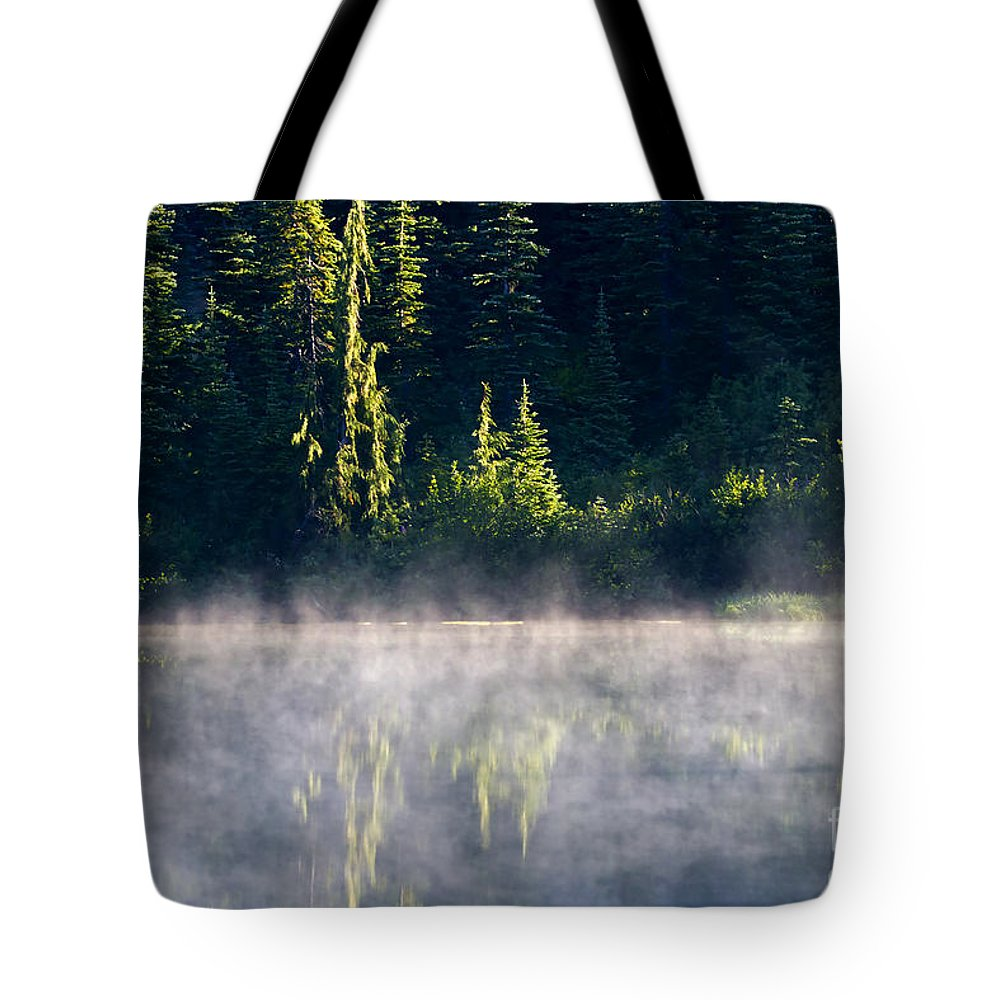 Lake Tote Bag featuring the photograph Morning Mist by Mike Dawson