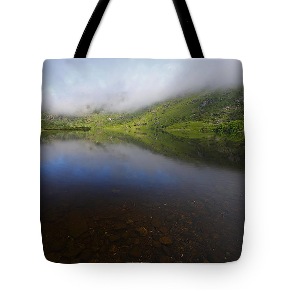Morning Tote Bag featuring the photograph Morning Mist Over Gougane Barra Lake by Trish Punch