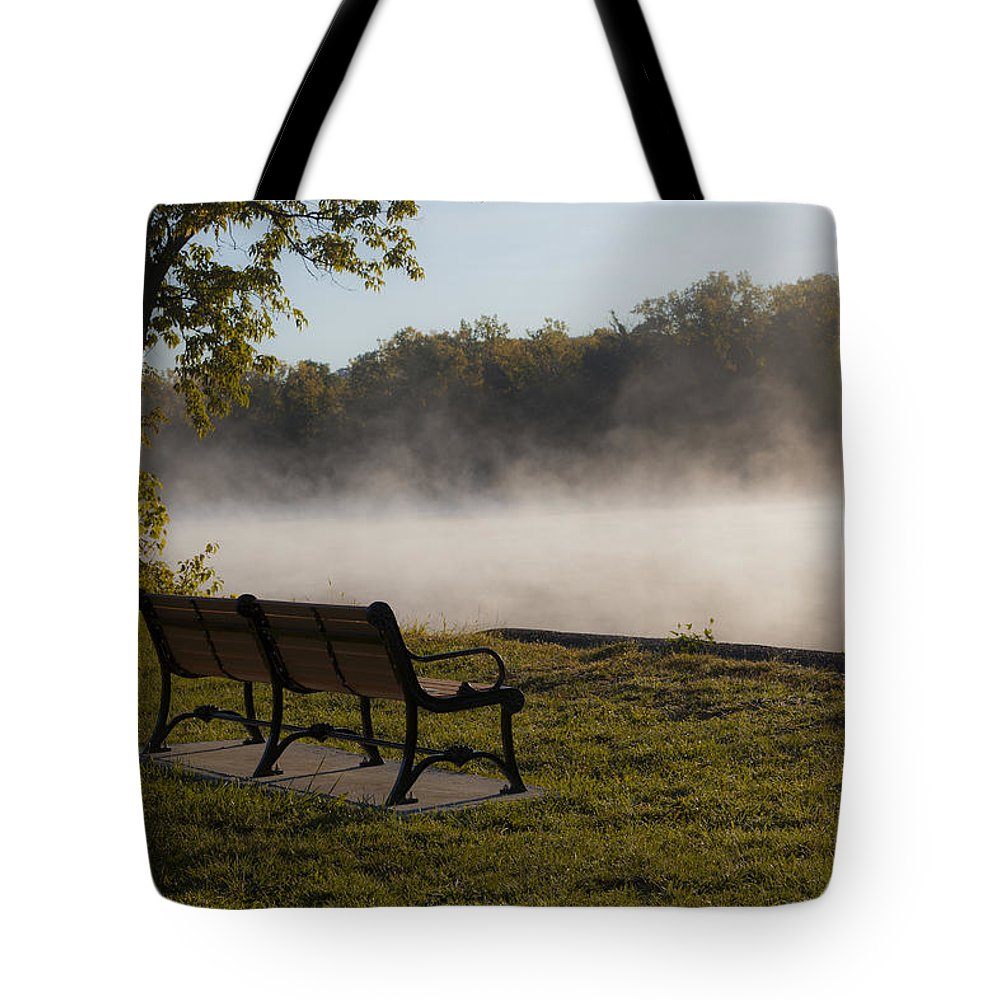 Landscape Tote Bag featuring the photograph Morning Mist Over The Hudson River by Jiayin Ma