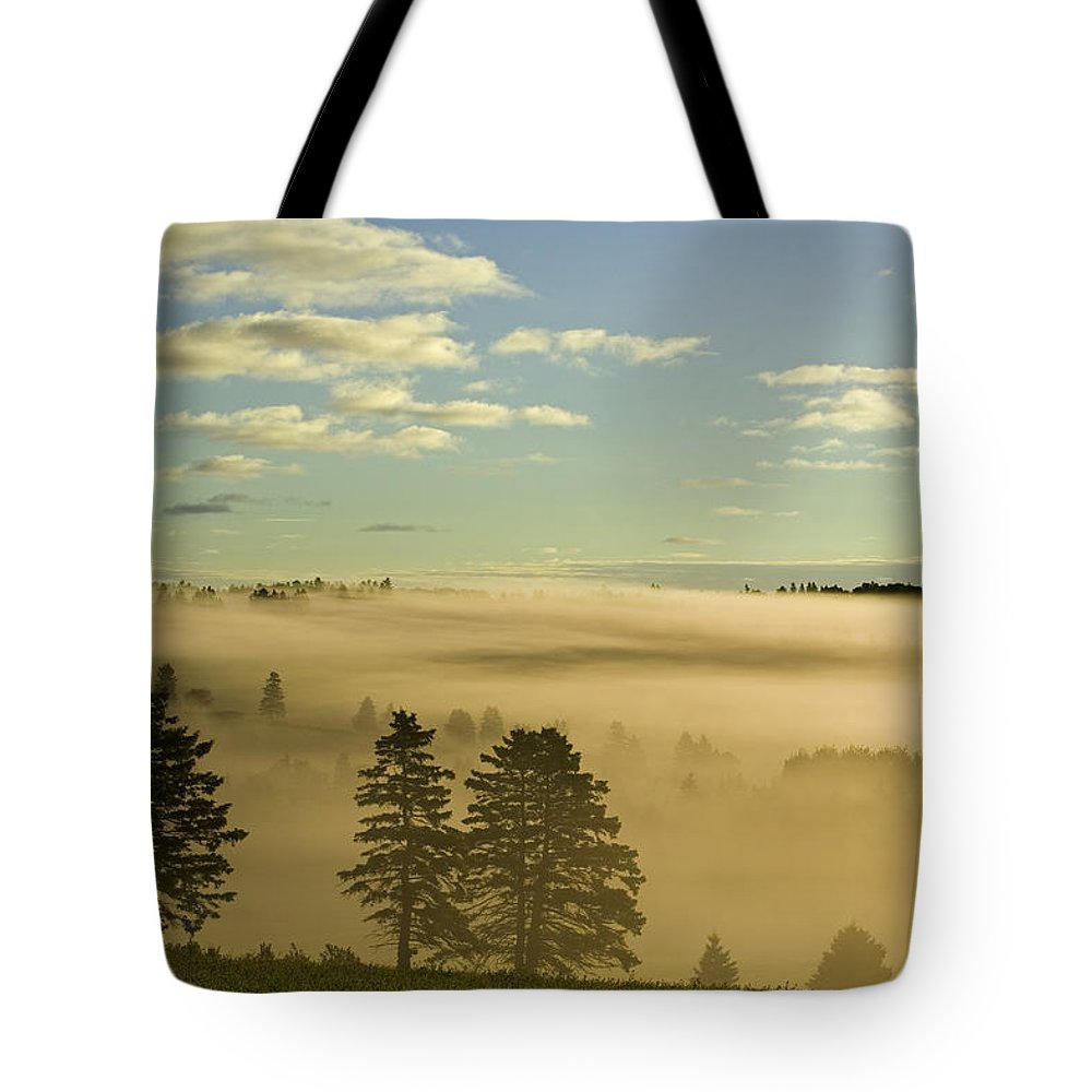 Clouds Tote Bag featuring the photograph Morning Mist Over Trees, New Glasgow by John Sylvester