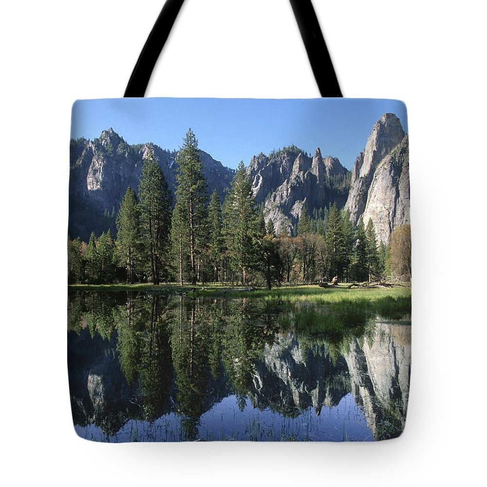 Yosemite National Park Tote Bag featuring the photograph Morning Reflection At Yosemite by Sandra Bronstein