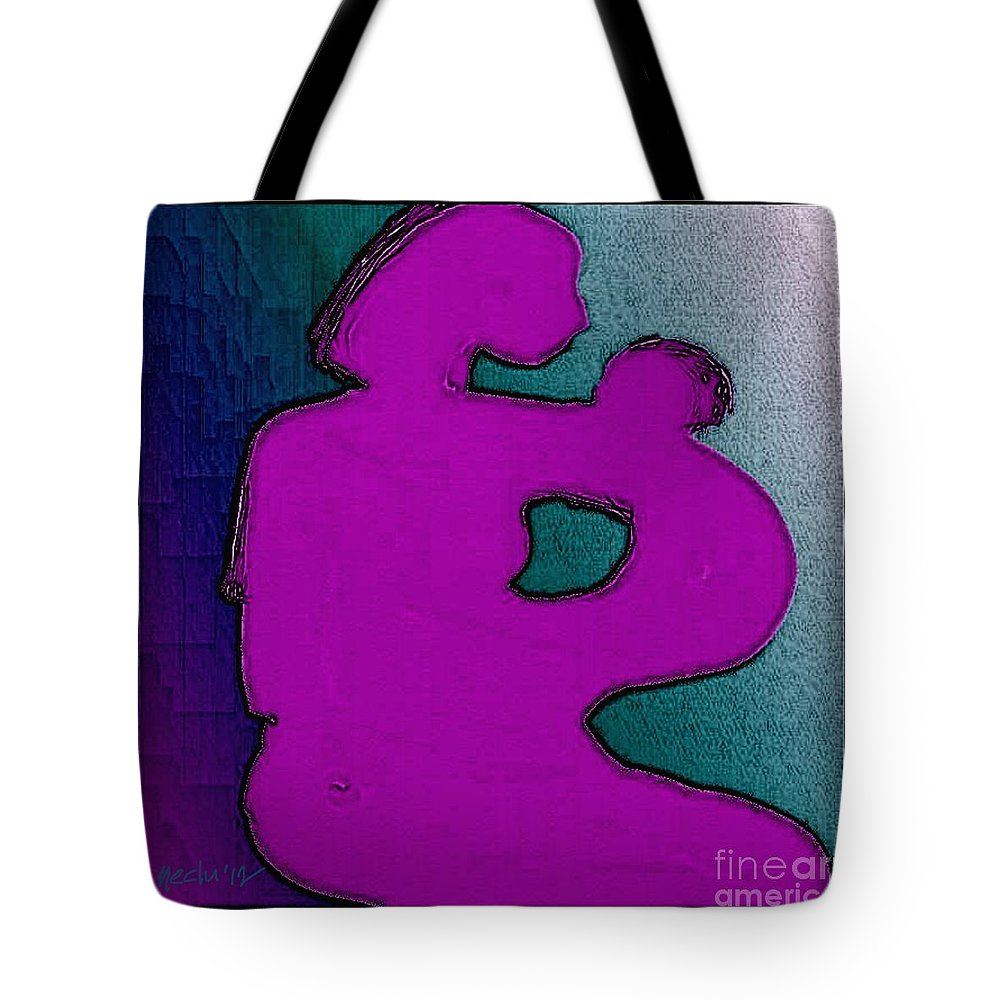 Paintings Tote Bag featuring the painting Mother And Child by Nedunseralathan R