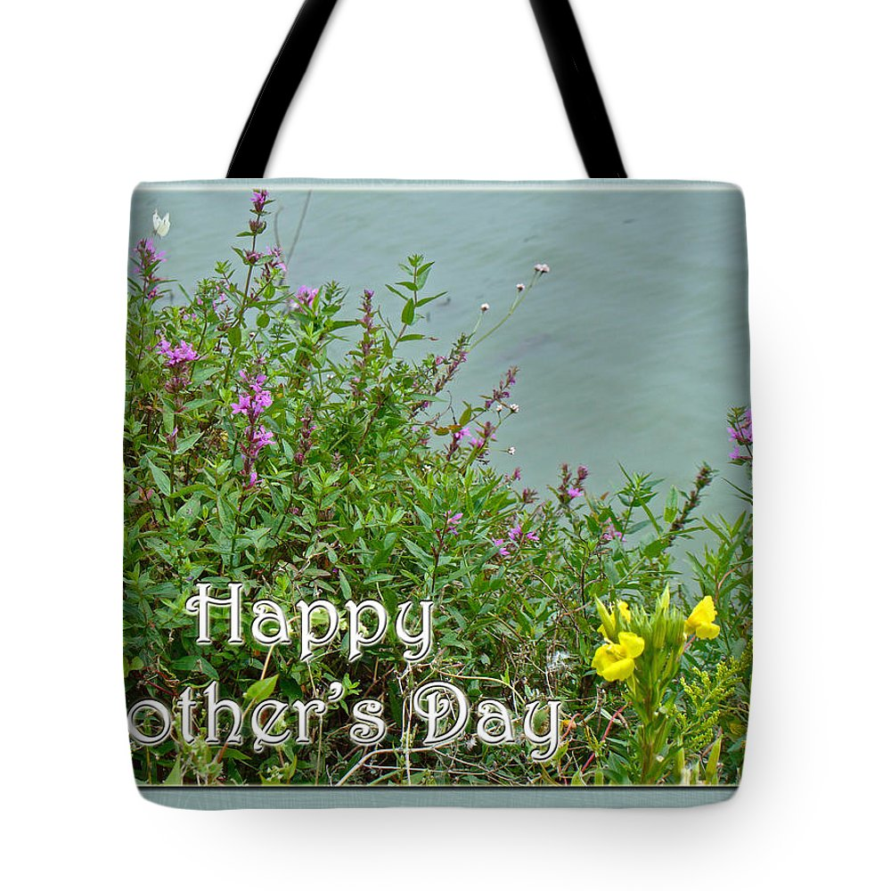 Mothers Day Tote Bag featuring the photograph Mother's Day - Wildflowers By The Pond by Mother Nature