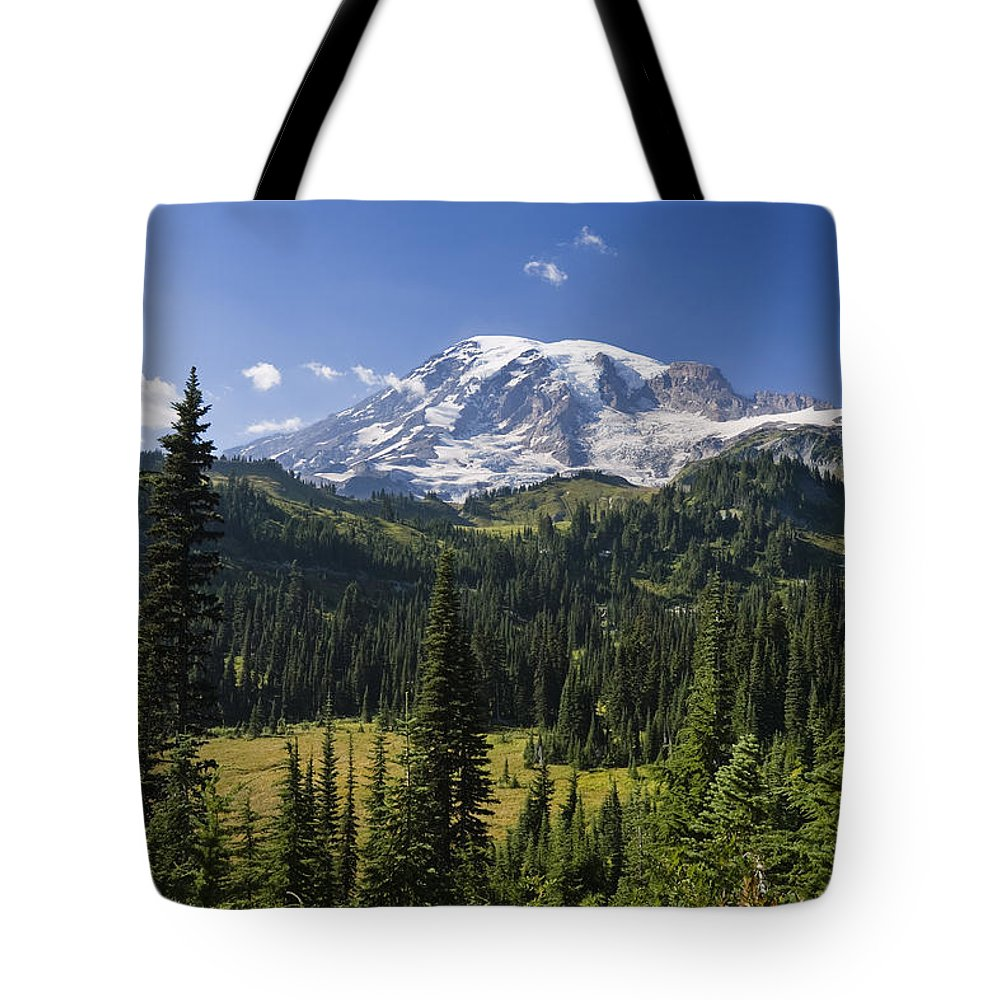 Mp Tote Bag featuring the photograph Mount Rainier With Coniferous Forest by Konrad Wothe