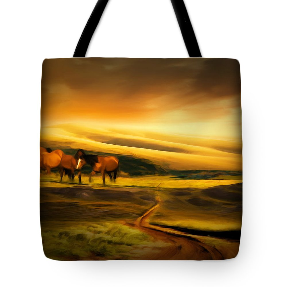 Mountain Horses Tote Bag featuring the photograph Mountain Horses by Lourry Legarde