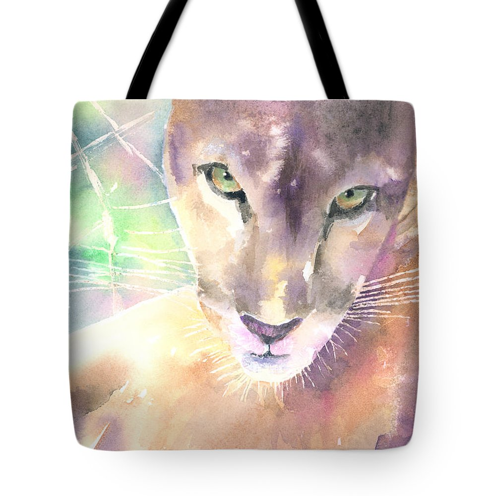 Mountian Lion Tote Bag featuring the painting Mountain Lion by Arline Wagner