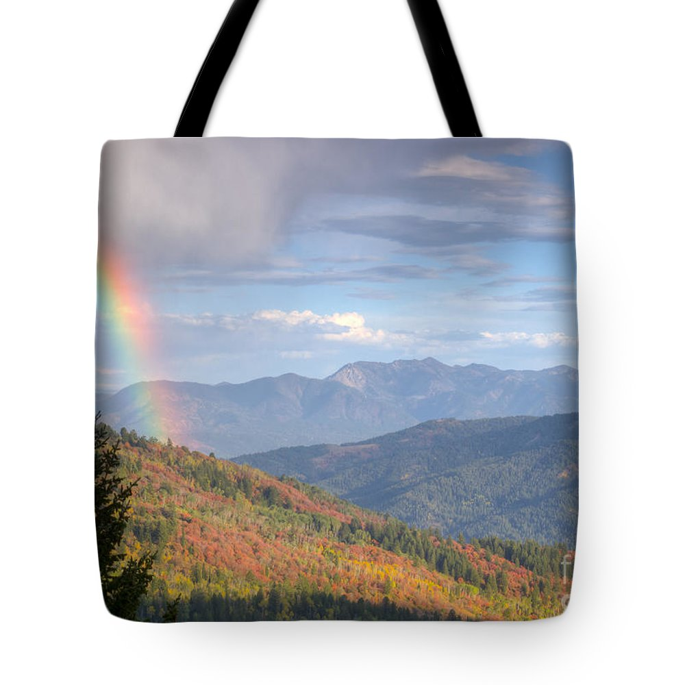 Rainbow Tote Bag featuring the photograph Mountain Rainbow by Idaho Scenic Images Linda Lantzy