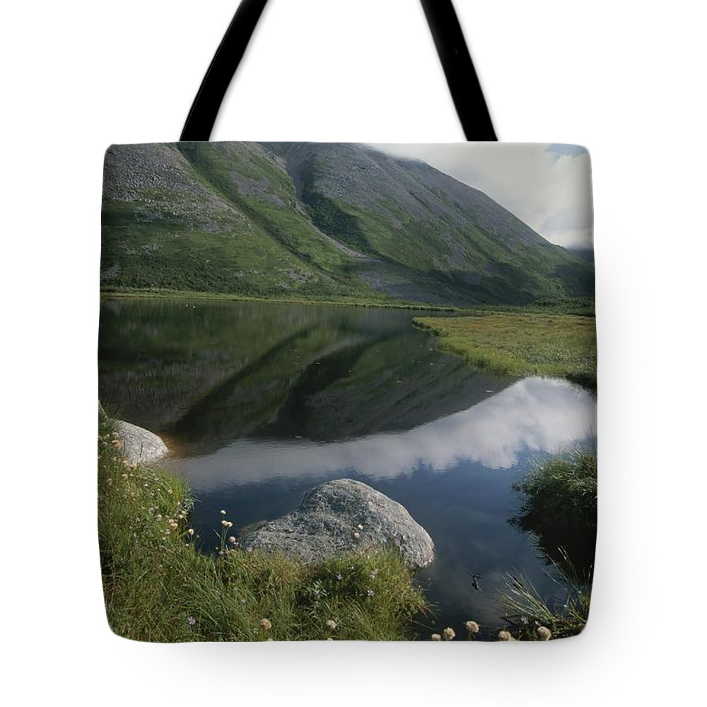 North America Tote Bag featuring the photograph Mountains And Clouds Are Reflected by Michael S. Lewis