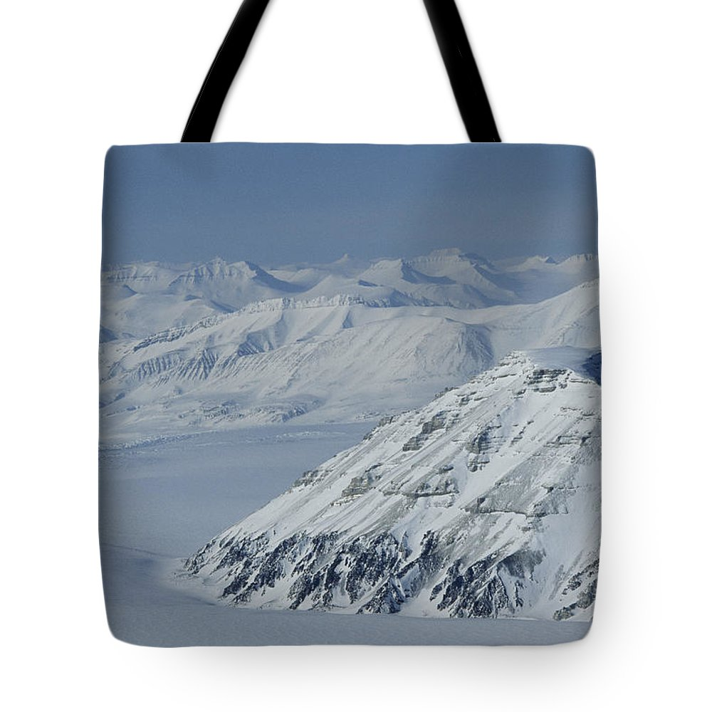Spitsbergen Tote Bag featuring the photograph Mountains And Glaciers Near Ny Alesund by Gordon Wiltsie