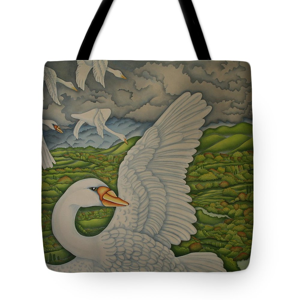 Swan Tote Bag featuring the painting Moving On by Jeniffer Stapher-Thomas