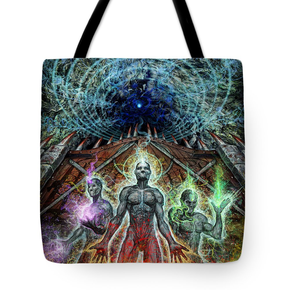 Eschaton Tote Bag featuring the mixed media Moving Past To Continue by Tony Koehl