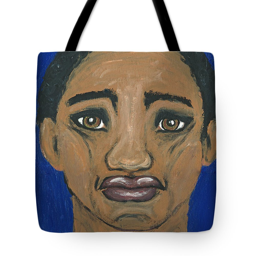 Man Portrait Tote Bag featuring the painting Mr No Attitude by Ania M Milo