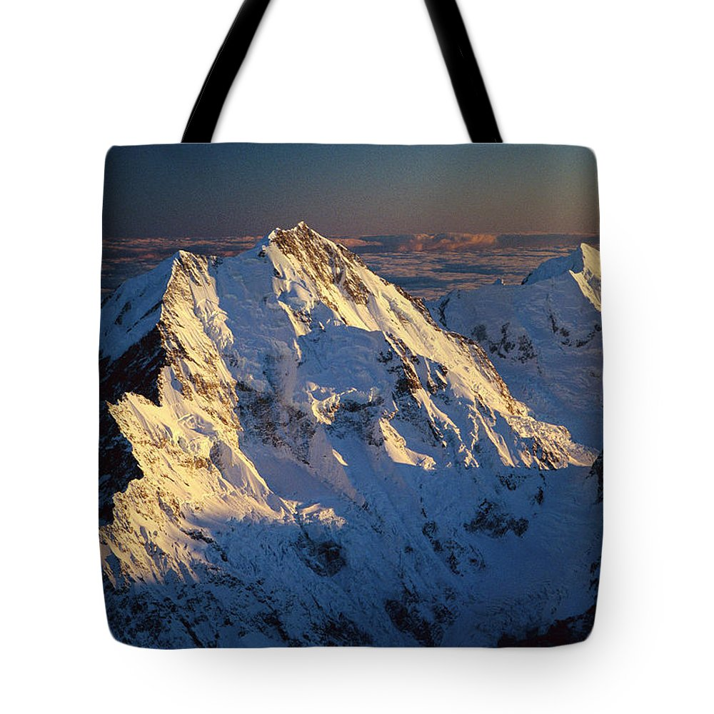 Aerial View Tote Bag featuring the photograph Mt Cook Or Aoraki And Mt Tasman, Aerial by Colin Monteath