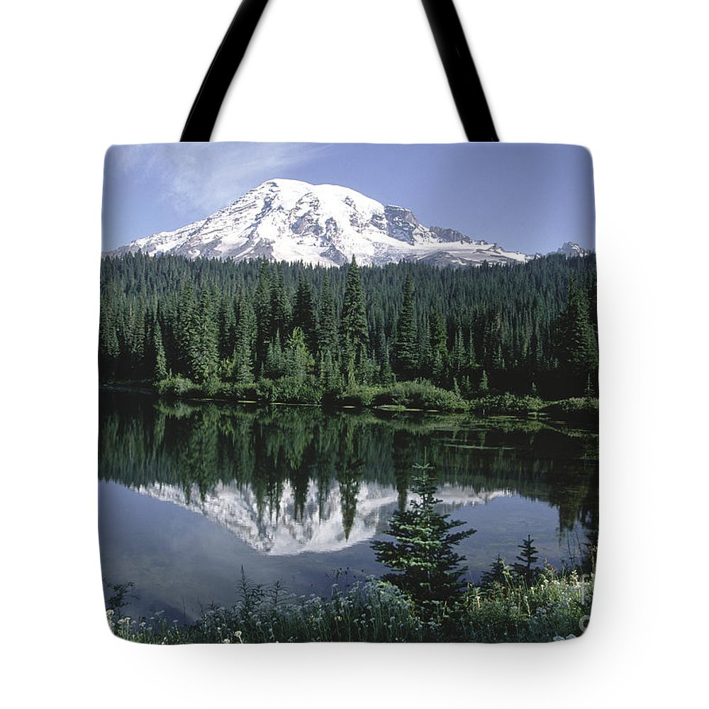 Sandra Bronstein Tote Bag featuring the photograph Mt. Ranier Reflection by Sandra Bronstein