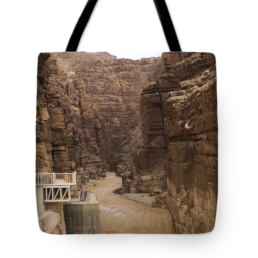 Wadi Mujib Tote Bag featuring the photograph Mud Filled Storm Water Scours by Taylor S. Kennedy