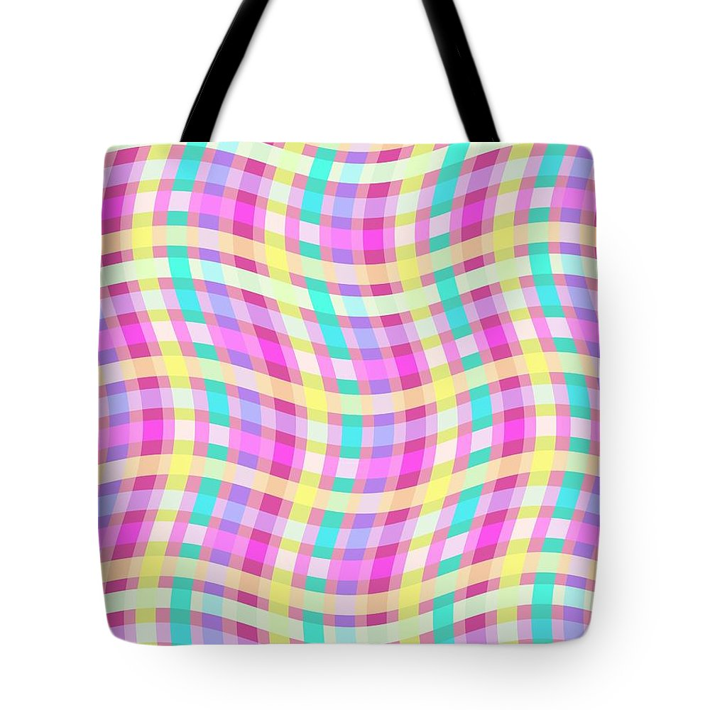 Multi Check Tote Bag featuring the digital art Multi Check by Louisa Knight