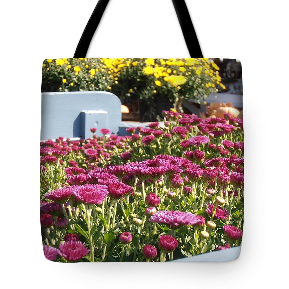 Mums Tote Bag featuring the photograph Mums At The Farm Stand by Kimberly Perry
