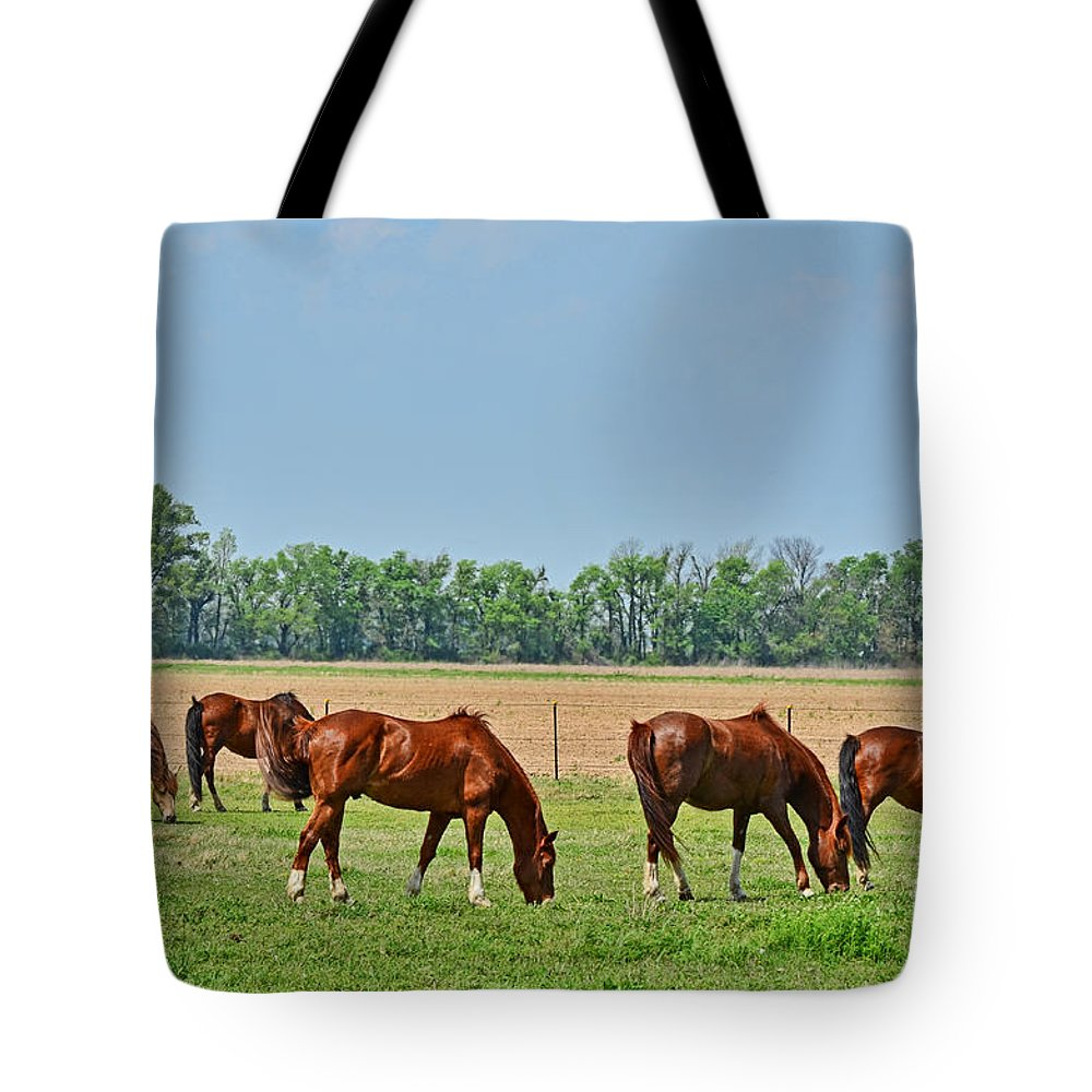 Nature Tote Bag featuring the photograph Munching Sweet Spring Grass IIi by Debbie Portwood