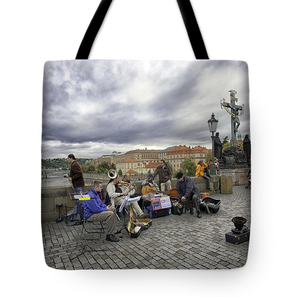 Prague Tote Bag featuring the photograph Musicians On The Charles Bridge - Prague by Madeline Ellis