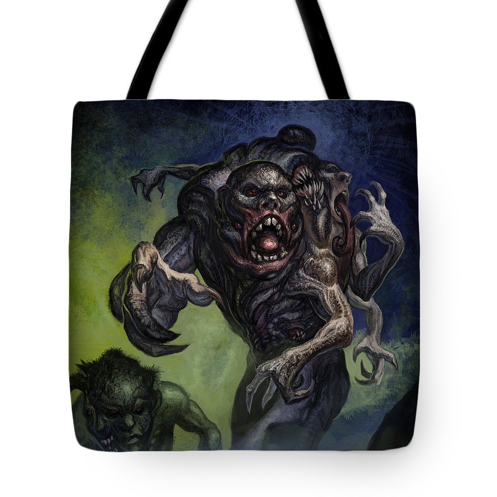Sanity In Death Tote Bag featuring the mixed media Mutants by Tony Koehl