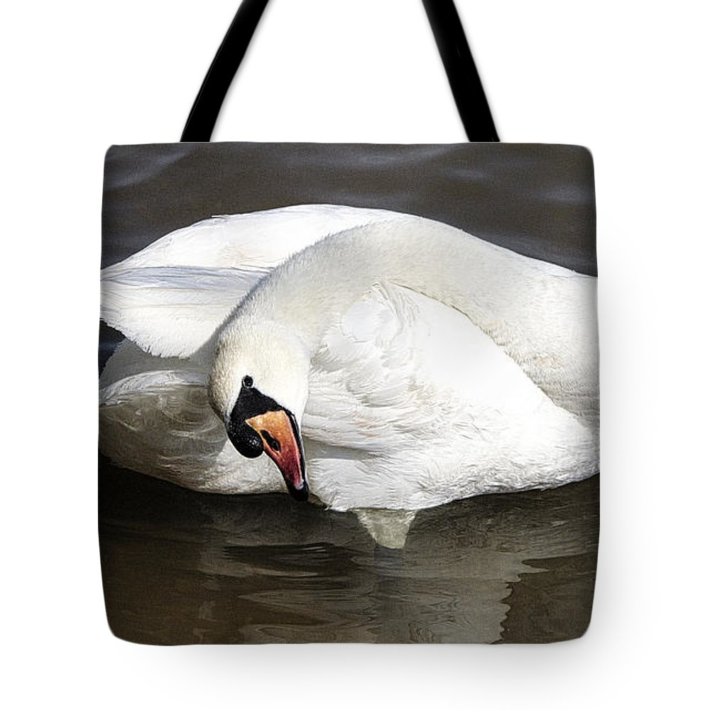Roy Williams Tote Bag featuring the photograph Mute Swan Flexibility Portrait by Roy Williams