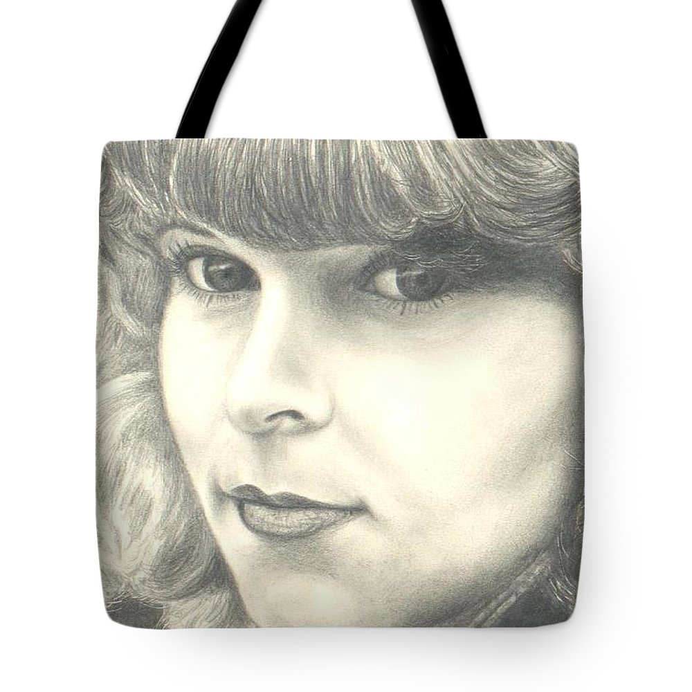 Portrait Tote Bag featuring the drawing My Daughter by Susan Saver