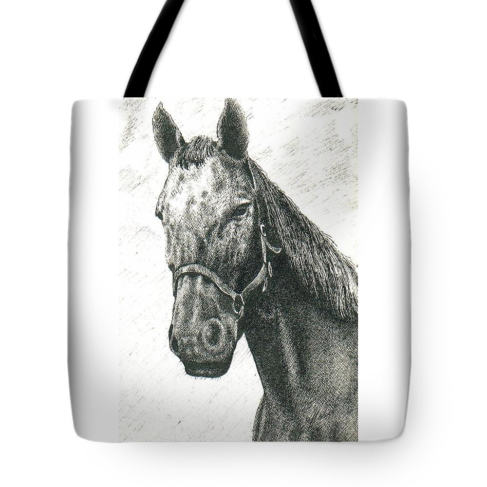 Ink Tote Bag featuring the drawing My Friend by Susan Saver