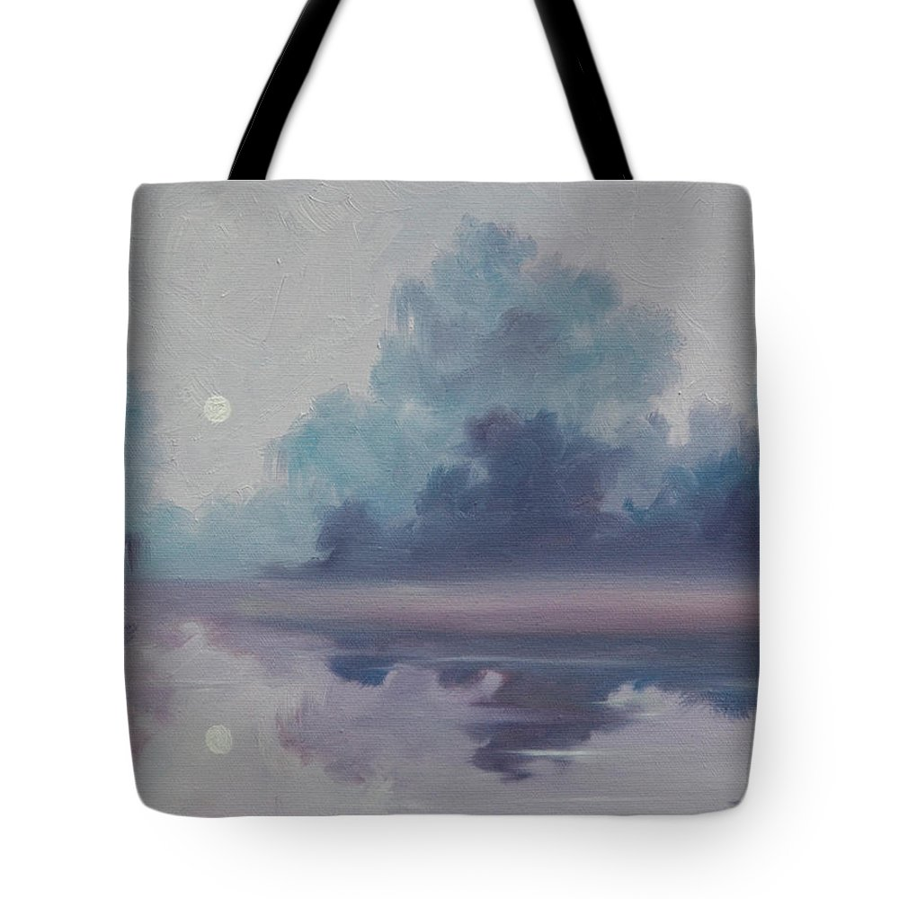 Nature; Lake; Sunset; Sunrise; Serene; Forest; Trees; Water; Ripples; Clearing; Lagoon; James Christopher Hill; Jameshillgallery.com; Foliage; Sky; Realism; Oils; Moon; Moonlight; Reflection; Blue; Lapis; Tote Bag featuring the painting Mystic Moonlight by James Christopher Hill