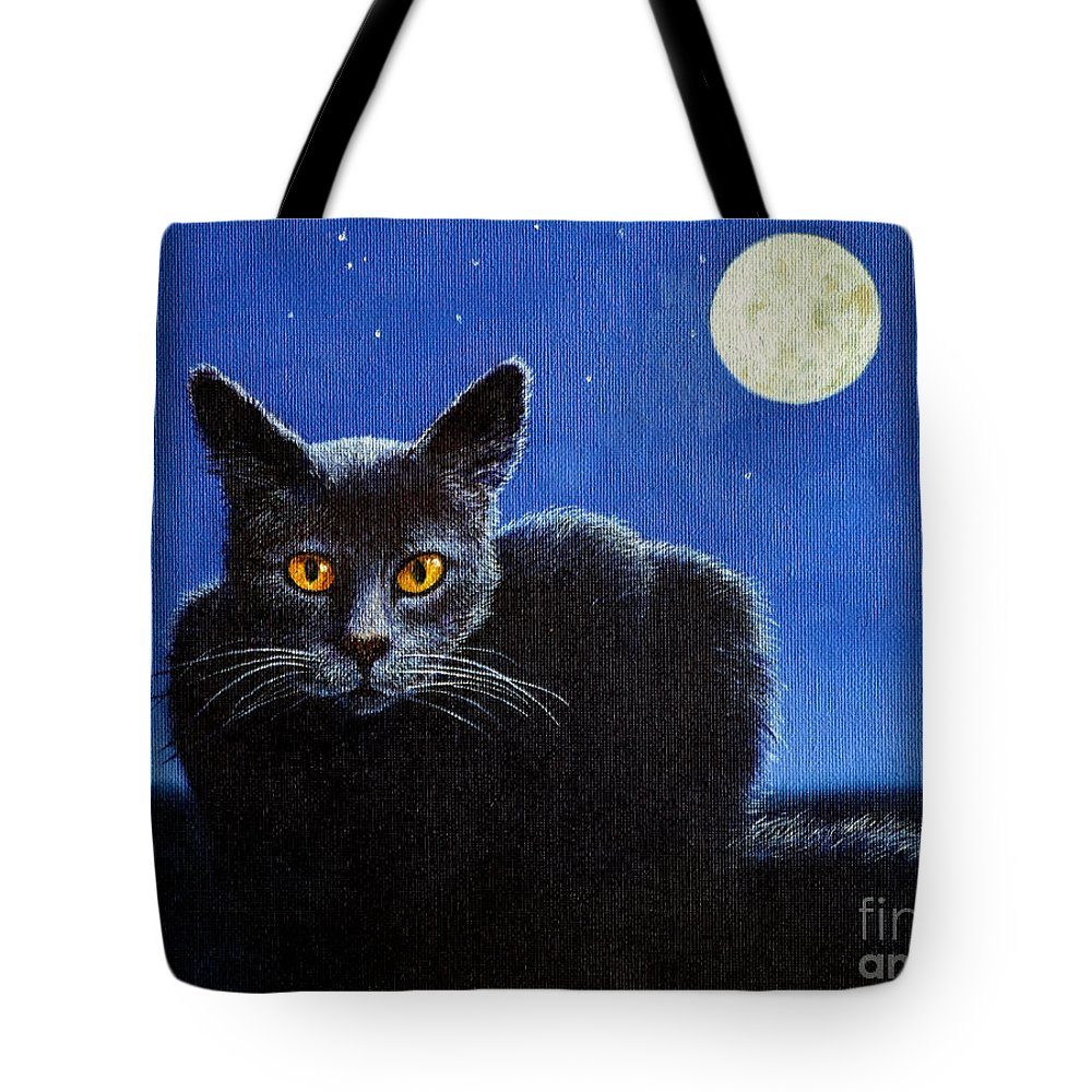 Cat Tote Bag featuring the painting Name Of The Cat Nightmare by Christopher Shellhammer