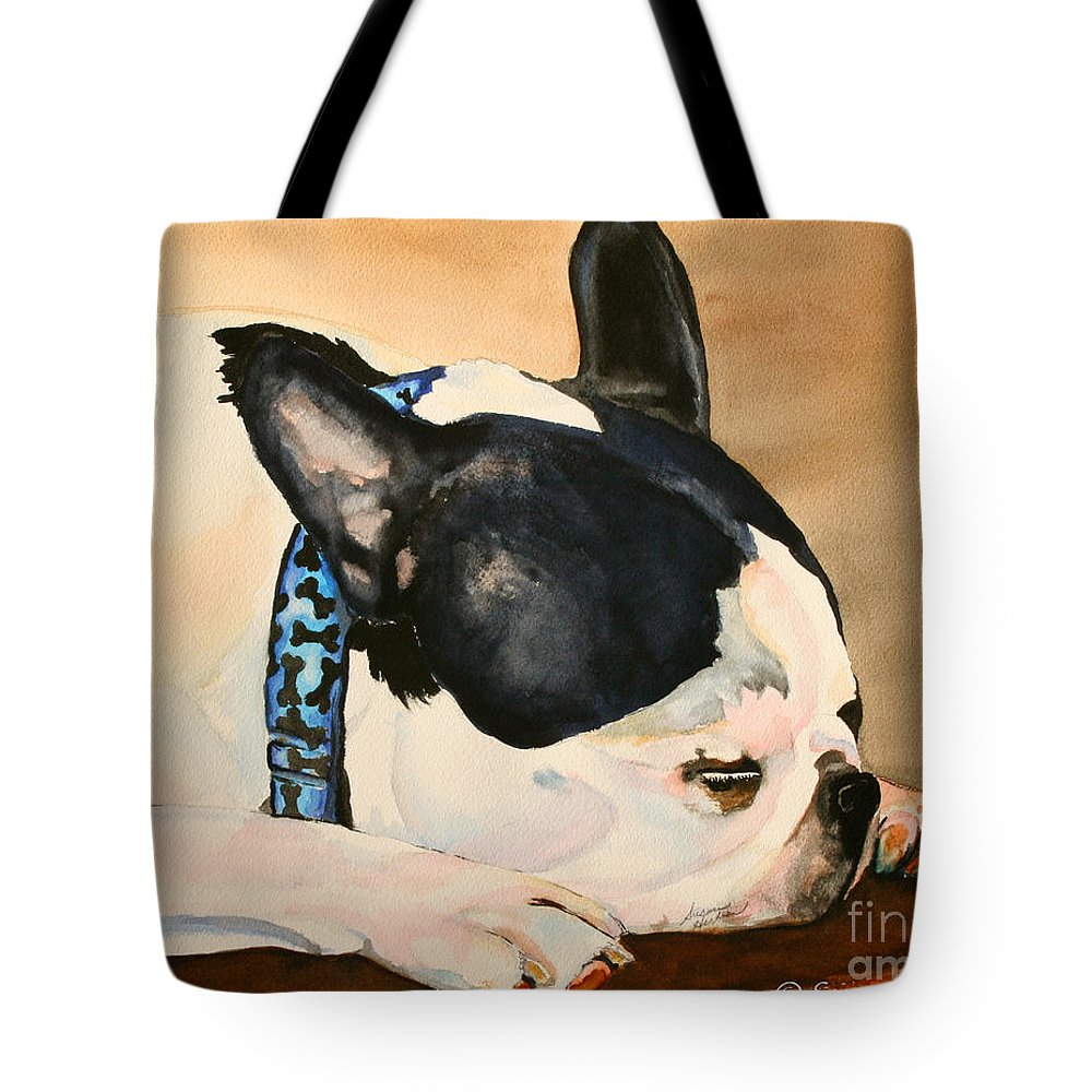 Dog Tote Bag featuring the painting Nap by Susan Herber