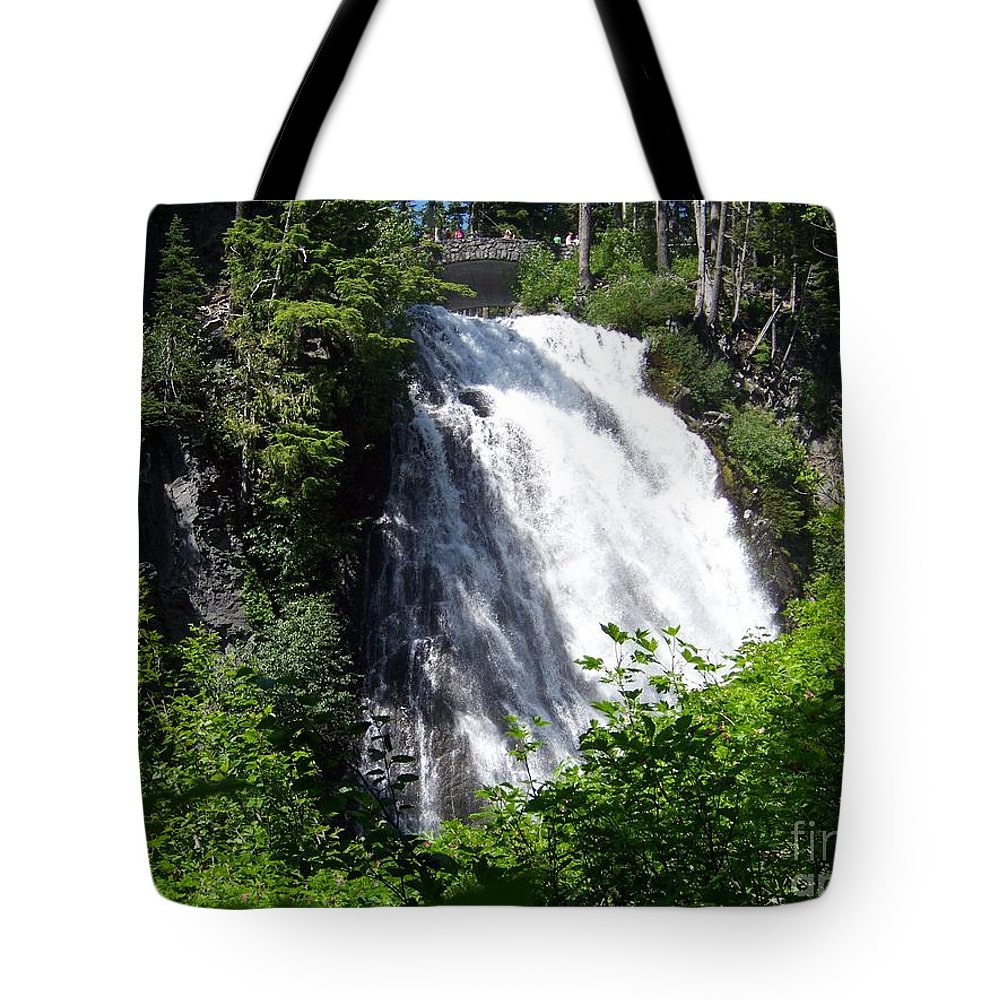 Waterfall Tote Bag featuring the photograph Narada Falls Through The Trees by Charles Robinson