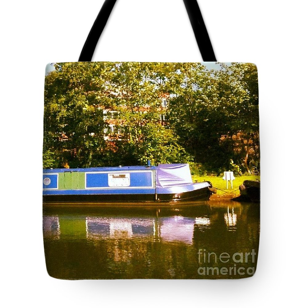 Summer Tote Bag featuring the photograph Narrowboat In Blue by Abbie Shores