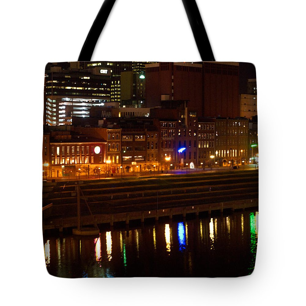 Nashville Tote Bag featuring the photograph Nashville River Front By Night 1 by Douglas Barnett