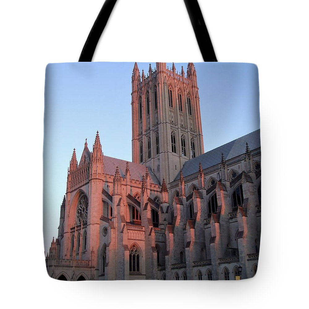 National Cathedral Tote Bag featuring the photograph National Cathedral At Sunset by Susan Wyman