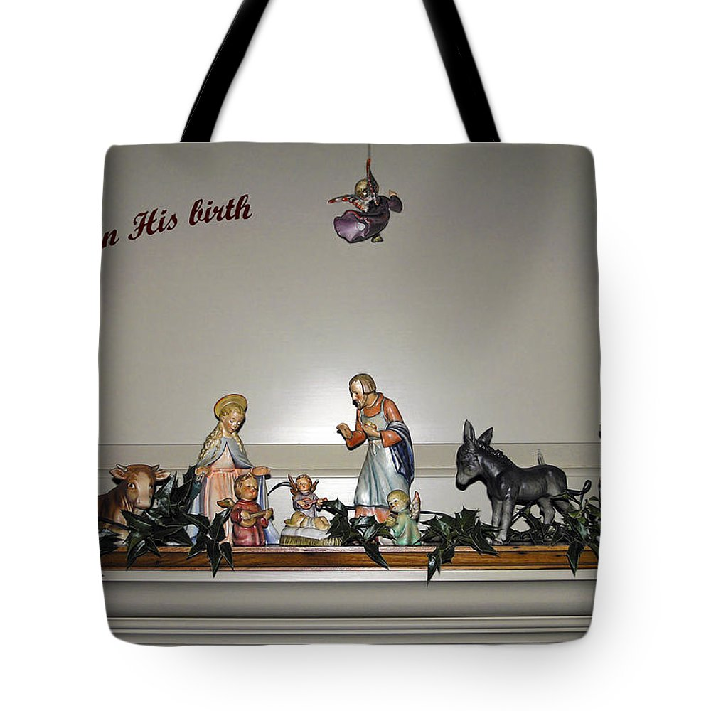 Hummel Nativity Set Tote Bag featuring the photograph Nativity Set by Sally Weigand