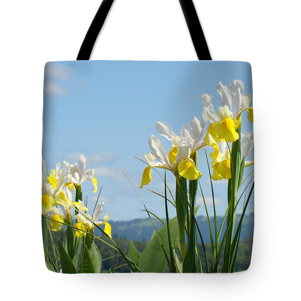 Irises Tote Bag featuring the photograph Nature Photography Irises Art Prints by Baslee Troutman