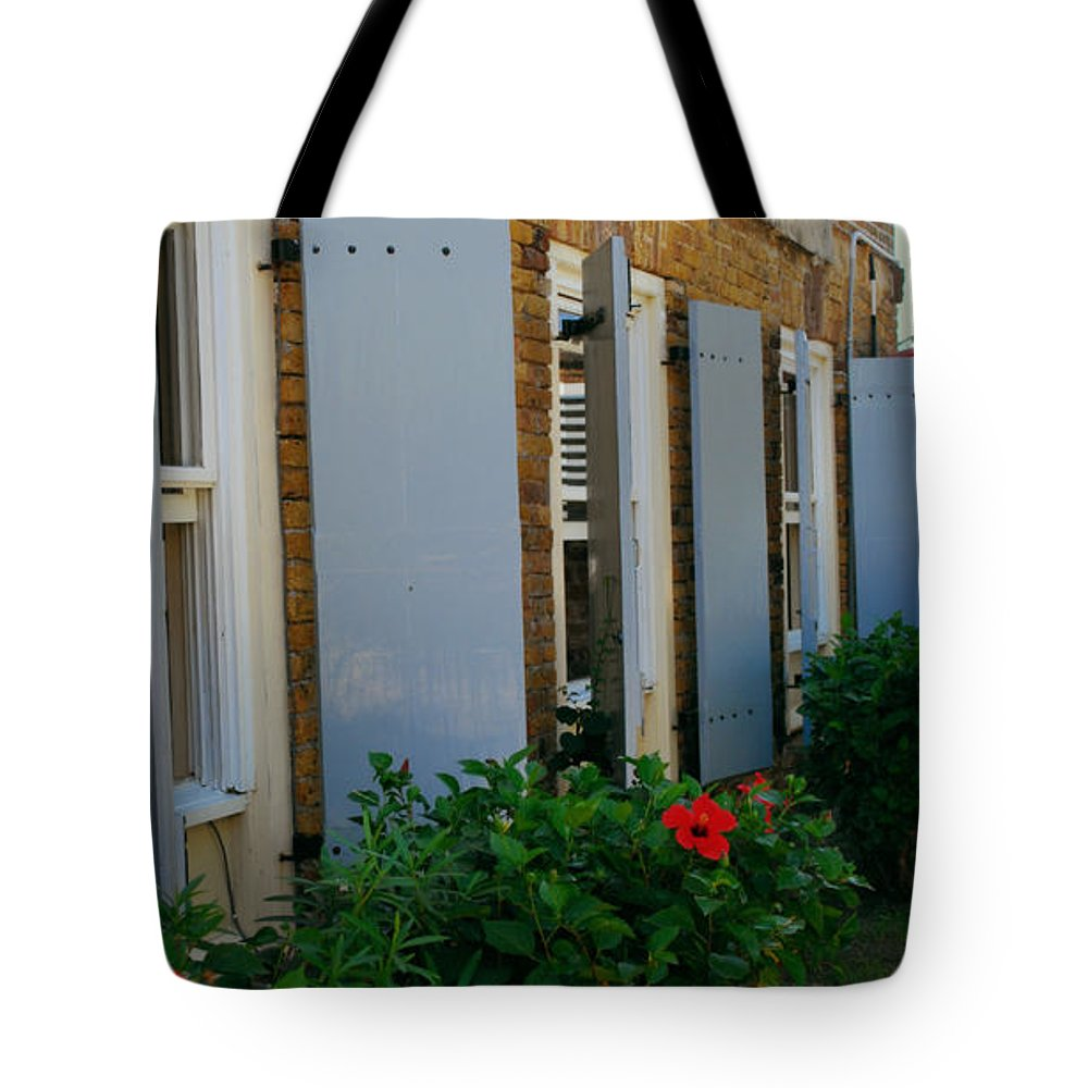 Antigua Tote Bag featuring the photograph Nelson's Dockyard Street Scene by Gary Wonning
