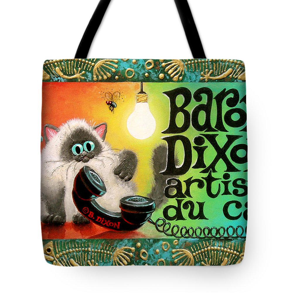 Cat Tote Bag featuring the painting Neocatism Bizcard by Baron Dixon