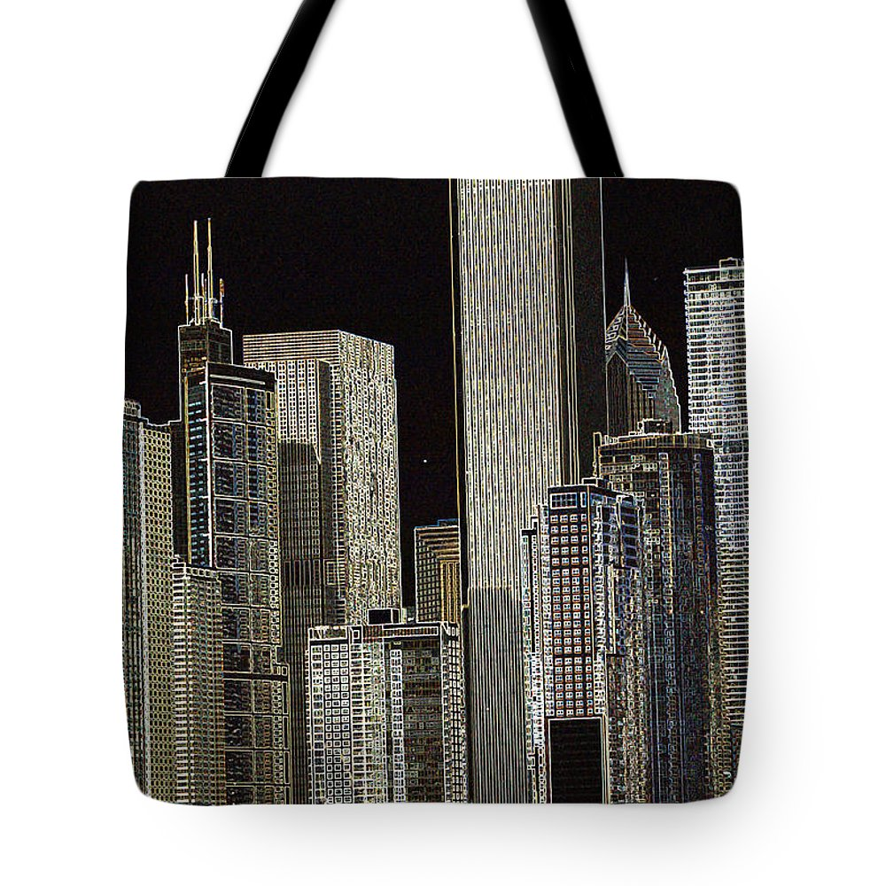 Chicago Tote Bag featuring the photograph Neon Chi Town by Toma Caul