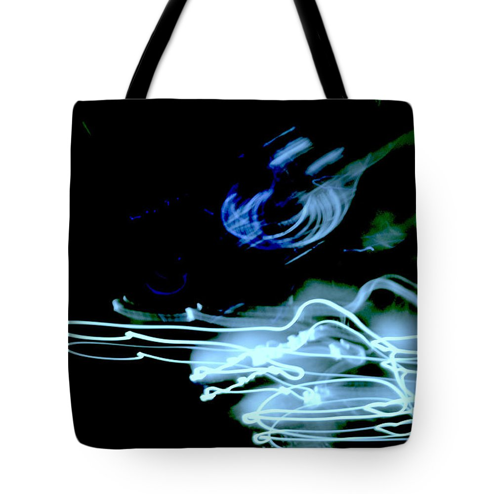Light Shadows Neon White Blue Green Abstract Tote Bag featuring the photograph neon II by Diane montana Jansson