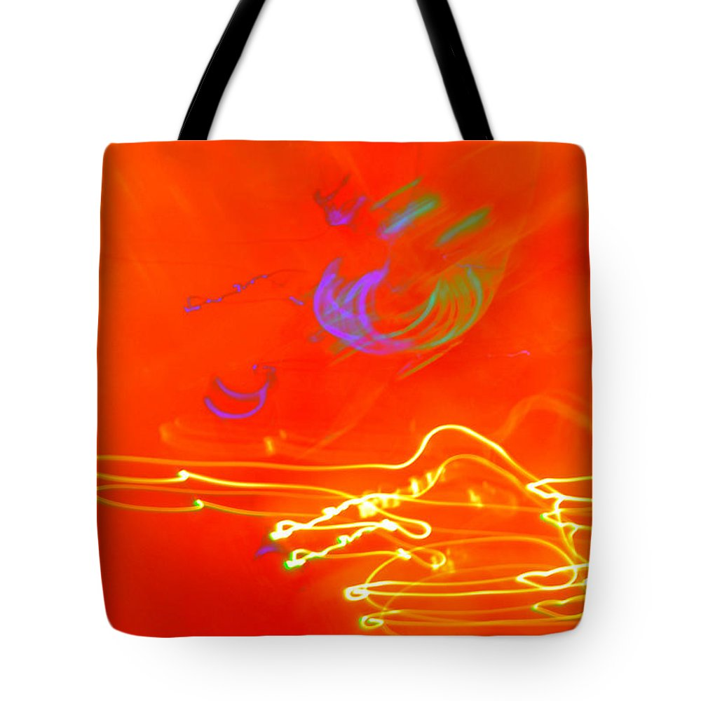 Light Neon Orange Purple Green Yellow Brilliant Abstract Tote Bag featuring the photograph neon III by Diane montana Jansson