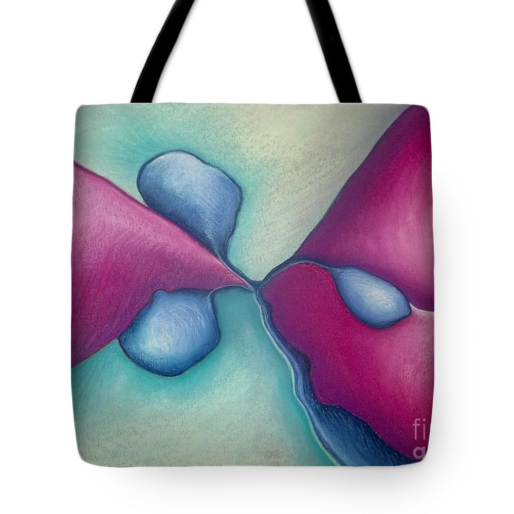 Abstract Tote Bag featuring the pastel New Beginning by Nancy Mueller