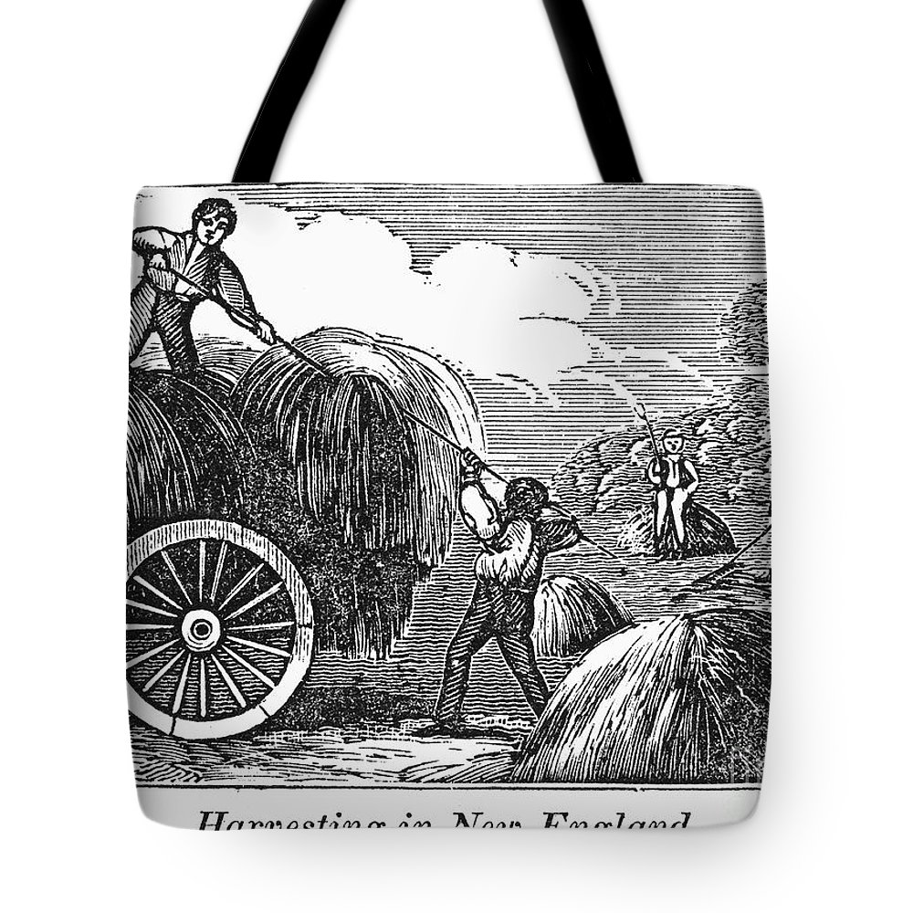 1820s Tote Bag featuring the photograph New England: Harvest, 1830 by Granger