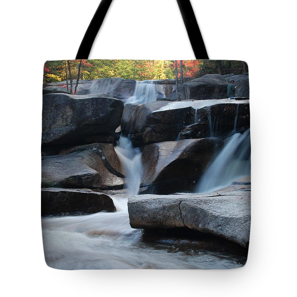 Waterfall Tote Bag featuring the photograph New Hampshire Waterfall 1 by Nancy De Flon