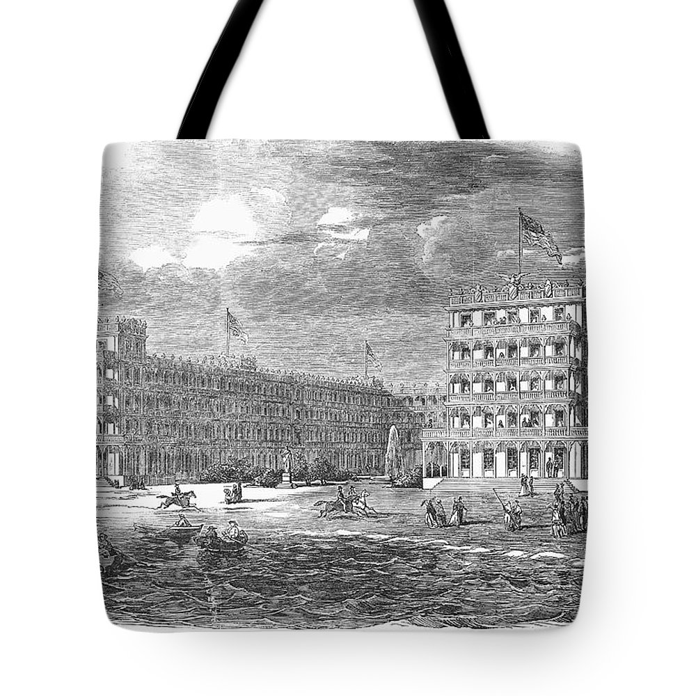 1853 Tote Bag featuring the photograph New Jersey Hotel, 1853 by Granger