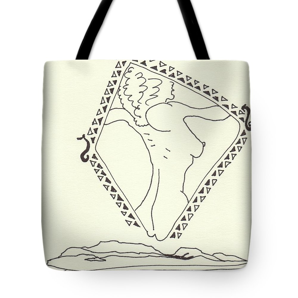 Drawing Tote Bag featuring the drawing New Mexico Moon 5 by Catherine Helmick